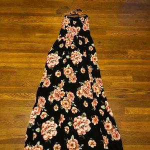 Black Floral Halter Maxi Dress
